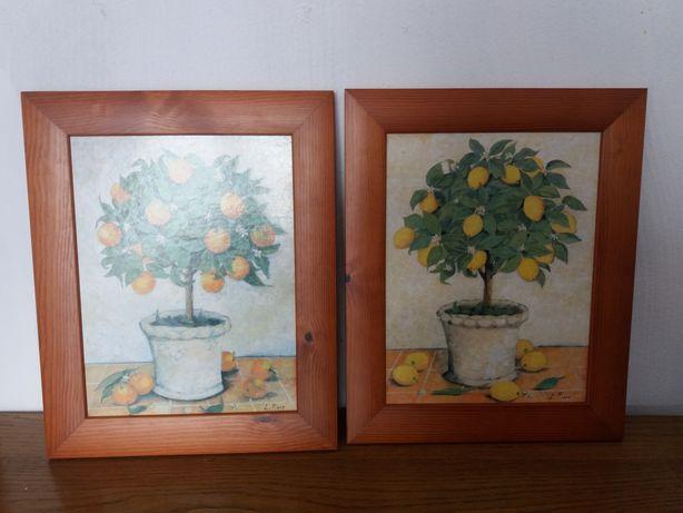 Dwa obrazki z drzewkami owocowymi
