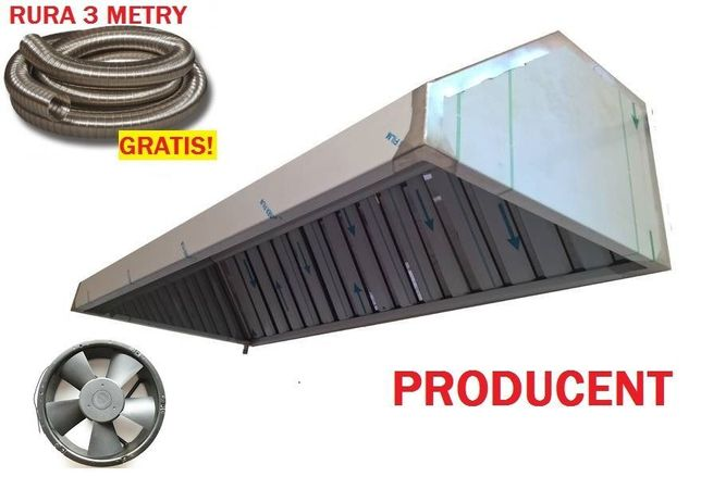 Okap Gastronomiczny 200x70x40 Wentylator Filtry Rura 3m Wysyłka