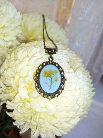 Кулон с настоящим цветком, винтажный кулон