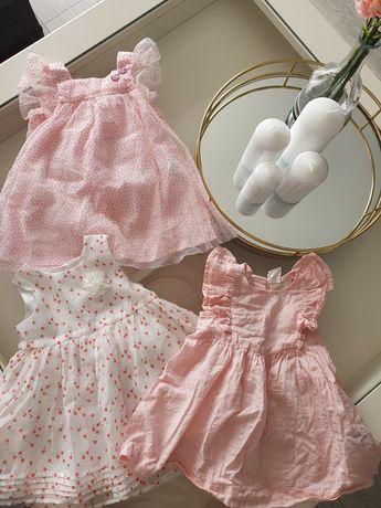 Sukienki, sukieneczka Hm, benetton 68, święta, sesja - 3 szt