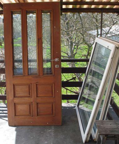 Drzwi sosnowe balkonowe