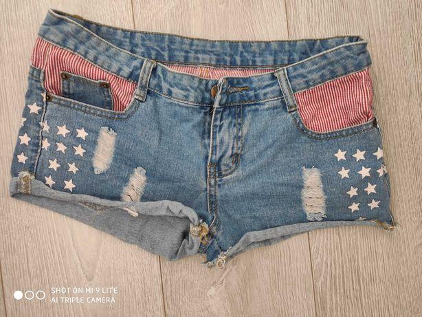 spodenki flaga jeans