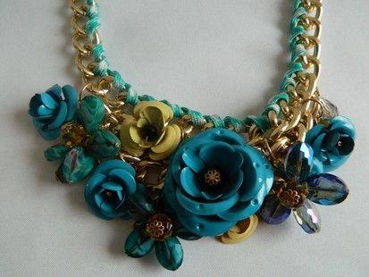 Ожерелье бирюза цепь, цветы, 56 см.