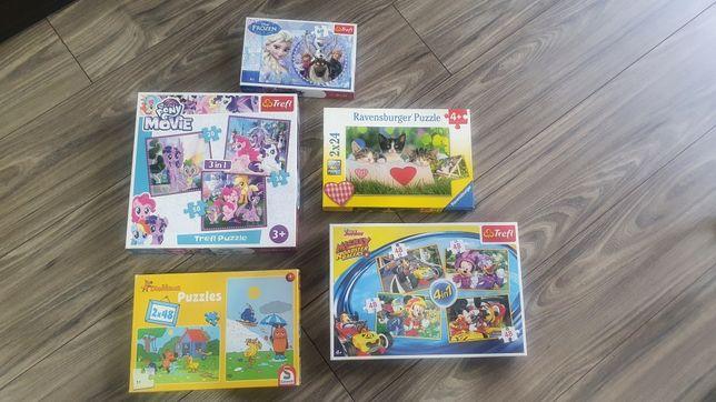 Puzzle 3 +, 4 +  zestaw Frozen Mickey Pony