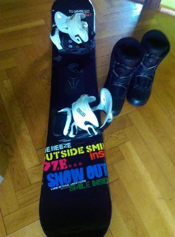 Snowboard z wiązaniami atomic i buty atomic JAK NOWE