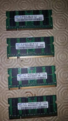 4 X Memória para Portátil Samsung 1G 2Rx8 PC2-5300s-555-12-E3