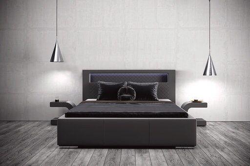 Łóżko TOKIO tapicerowane Pojemnik oświetlenie LED stelaż