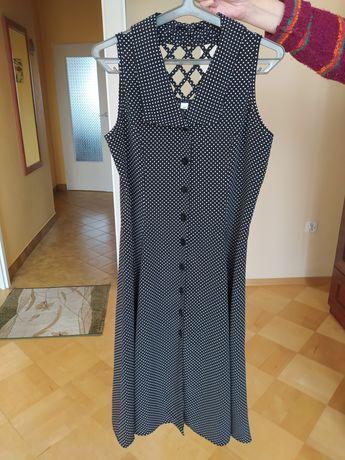 Długa czarna sukienka w białe grochy L 40.