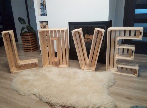 Drewniane LOVE Napis drewniany wesele ślub skrzynka drewniana