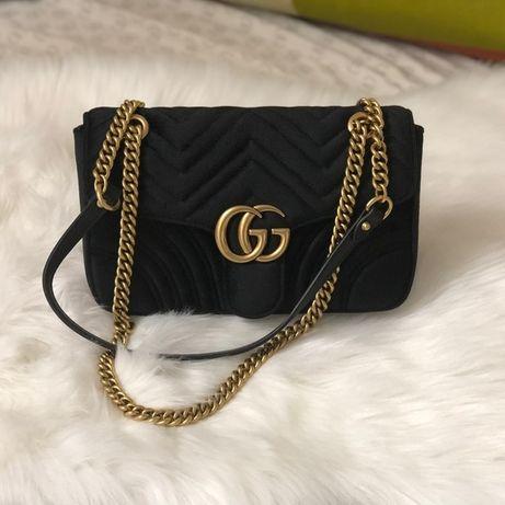 Czarna satynowa Gucci Marmont torebka