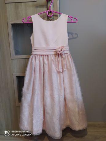 Elegancka sukienka różowa wizytowa rozm 128