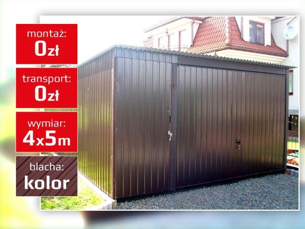 Garaż blaszany jednospadowy z bramą uchylną garaże blaszaki w kolorze