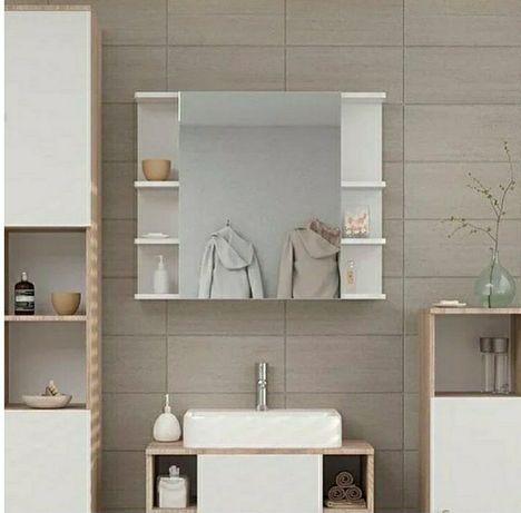 Полка навесная с зеркалом, шкафчик в ванную, влагостойкий ДСП, зеркало