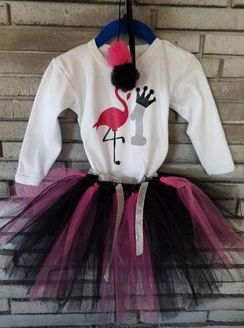 Komplet na roczek flaming, sukienka tiulowa 86