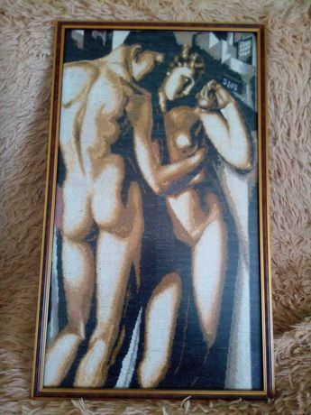 Картина вышивка -сюжет-АДАМ и ЕВА-