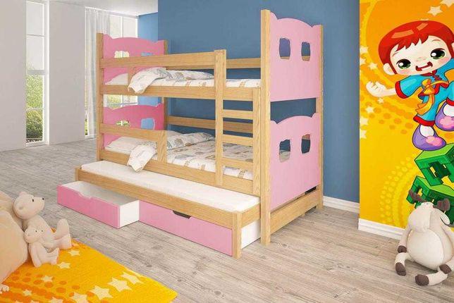 Trzyosobowe łóżko piętrowe dla dzieci JANEK + materace gratis!