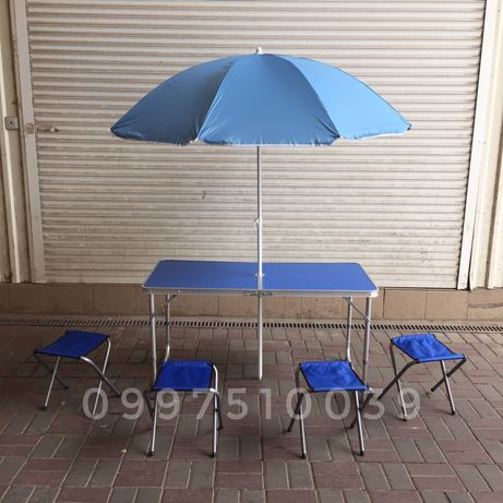 Стол для пикника до 80 кг + 4 стула + ЗОНТ 1.8 м Столик