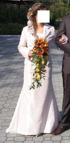 Piękna suknia ślubna - tafta (spódnica, gorset, marynarka)