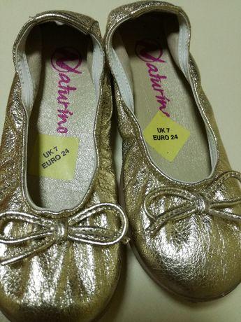 Piękne złote balerinki dla dziewczynki r 24