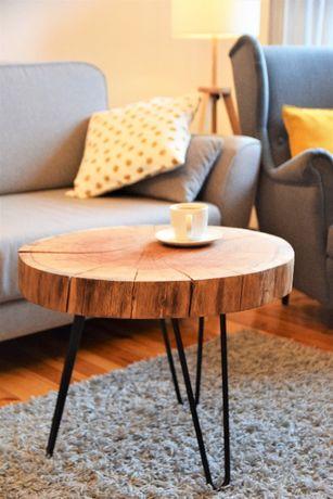 Stolik kawowy / Dębowy / Plaster drewna