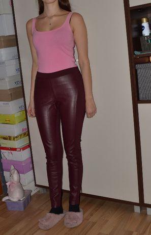 Spodnie legginsy bordo bordowe S 36 M 37 wiskoza esmara