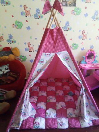 Вигвам для девочки розовый с совами ковёр помпон