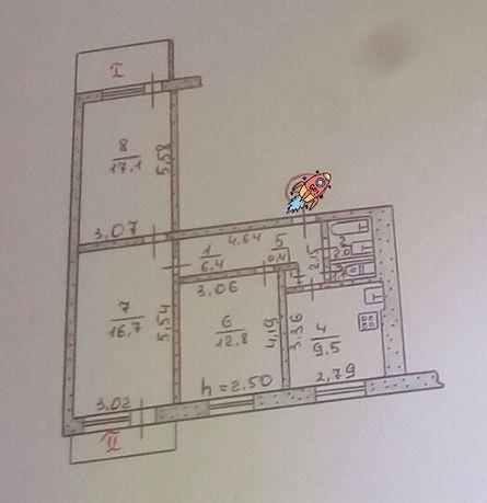 Квартира 3 комнаты в Верховцево в 6-этажке