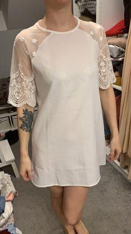 Biała sukienka koronka mini wieczór panieński poprawiny krótki rękaw