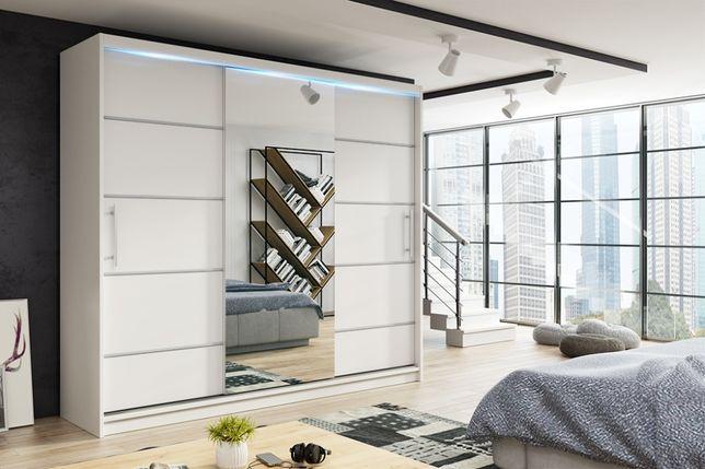 Szafa przesuwna 180cm RIO 3 z lustrem kolor biel, dąb sonoma, wenge