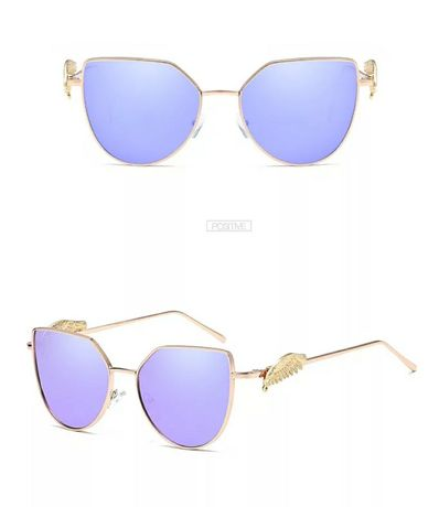 Солнцезащитные сиреневые фиолетовые очки кошачий глаз золотая оправа