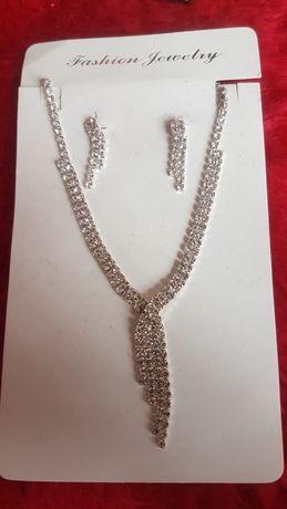 Kolia naszyjnik zestaw biżuterii ślubnej kolczyki wesele studniówka 18