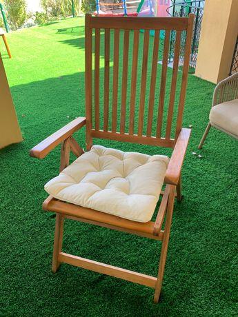 Conjunto 4 cadeiras de jardim de madeira de acacia