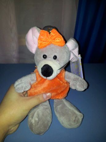 Мышь / Крыса, серая с оранжевым бантом