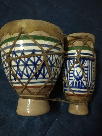 Tbilat - Tambor artesanal duplo vintage em cerâmica e pele