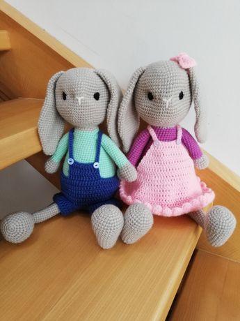 Zajączek króliczek przytulanka maskotka na szydełku handmade