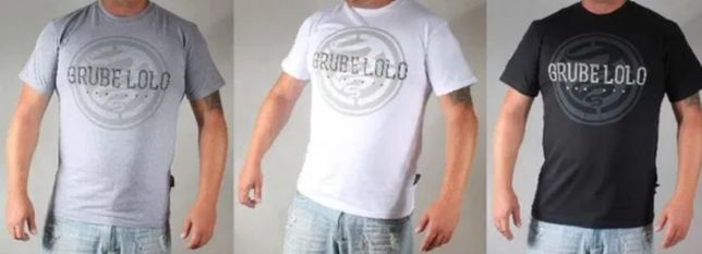 NOWA koszulka GRUBE LOLO Rebirth biała szara czarna M L dymek palacz