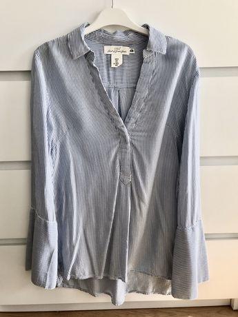 Koszula niebiesko-białe paski z rozszerzanymi rękawami rozmiar 34 H&M
