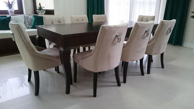 Krzesło pikowane z kołatką tapicerowane chesterfield hampton