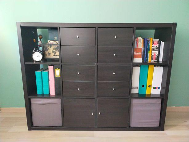 Regał kallax Ikea, czarny, ciemny, 12 półek