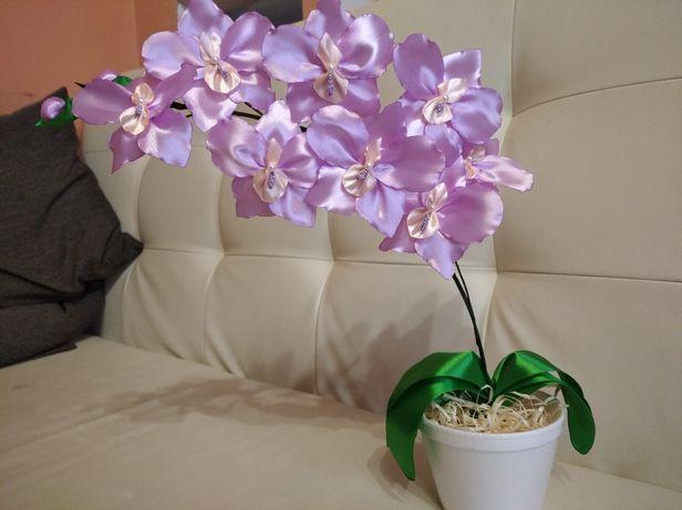 Орхидея из лент - лучший подарок