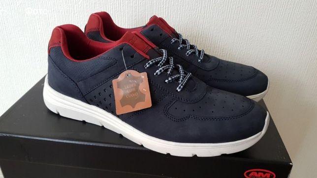 Кожаные кроссовки немецкой фирмы Am Shoe 41р,стелька 27см,оригинал.