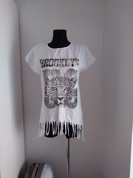 Nowa Biała koszulka Brooklyn pantera frędzle M L XL