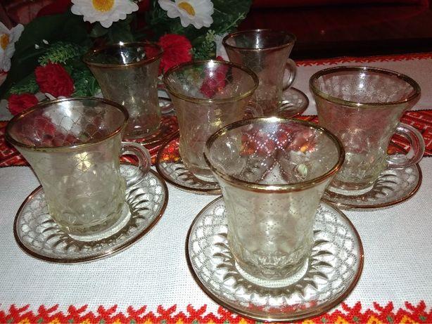 Чайный кофейный сервиз стекло