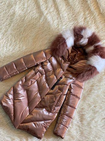 Шикарное зимнее пальто для девочки Бархат Шоколад с натуральным мехом