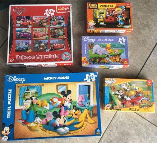 Puzzle dla chłopców Autka Bob Budowniczy Kubuś Puchatek Bugs zestaw 5