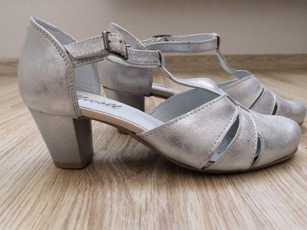 NOWE Buty ślubne srebrne NICOLL 2160 rozm. 35 36 obcas: 5,5 cm słupek
