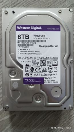 Жесткий диск WD82PURZ Purple 8Tb 256mb 7200rpm