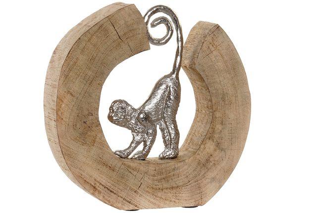 Estatueta de Madeira Natural e Metal Macaco By Arcoazul