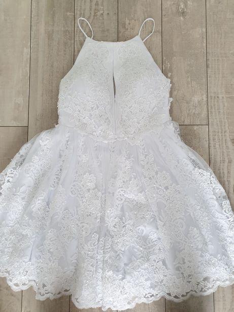 Suknia sukienka ślubna koronka krótka S GRATIS biżuteria i kurier!