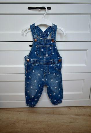Ogrodniczki dziewczynka gwiazdki jeans jeansowe H&M r 74